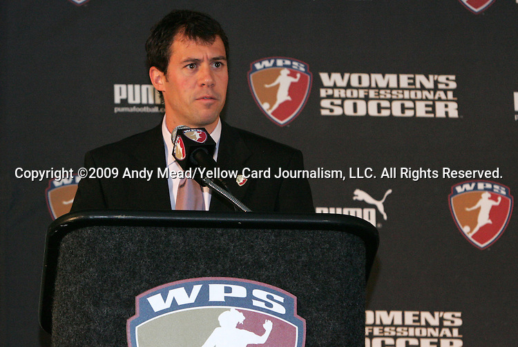 16 January 2009: WPS Director of Communications Robert Penner. The 2009 inaugural Womens Pro Soccer (WPS) Draft was held at the Convention Center in St. Louis, Missouri in conjuction with the National Soccer Coaches Association of America's annual convention.