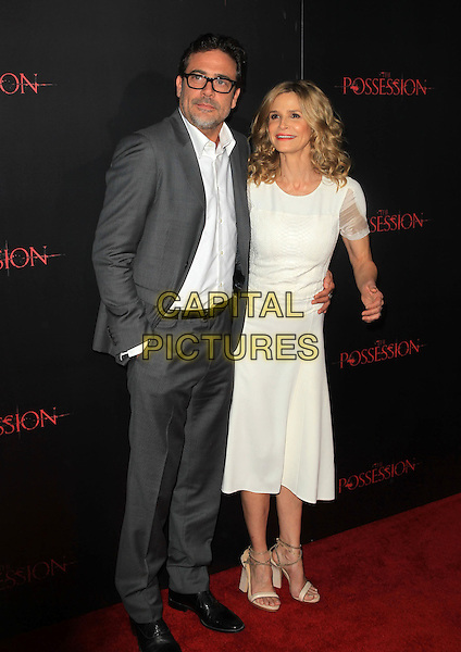 "Jeffrey Dean Morgan & Kyra Sedgwick.""The Possession"" Los Angeles Premiere held at Arclight Cinemas, Hollywood, California, USA..August 28th, 2012.full dress white shirt grey gray suit jacket sheer stubble facial hair glasses hand in pocket  .CAP/ADM/KB.©Kevan Brooks/AdMedia/Capital Pictures."
