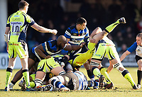 Rob Webber of Sale Sharks is upended. Aviva Premiership match, between Bath Rugby and Sale Sharks on February 24, 2018 at the Recreation Ground in Bath, England. Photo by: Patrick Khachfe / Onside Images