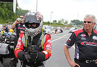 May 10, 2013; Commerce, GA, USA: NHRA top fuel dragster driver Steve Torrnce (left) with crew chief Lee Beard during qualifying for the Southern Nationals at Atlanta Dragway. Mandatory Credit: Mark J. Rebilas-