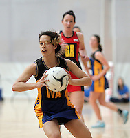 05.10.2012 Eastern's Bianca Lioyd-Jones in action during the netball match between Tasman and Eastern at the Lion Foundation Netball Champs in Tauranga. Mandatory Photo Credit ©Michael Bradley.