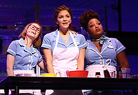 Laura Baldwin as Dawn, Katharine McPhee as Jenna and Marisha Wallace as Becky in Jessie Nelson's Waitress directed by Diane Paulus at The Adelphi Theatre,  The Strand, London on February 7th 2019<br /> CAP/ROS<br /> &copy;ROS/Capital Pictures