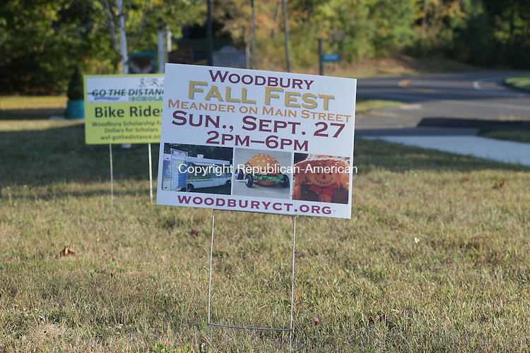 WOODBURY, CT: 24 Sept. 2015: 09242015CB01: WOODBURY --- There will not be a limit in residential zones on the number of signs of the size pictured here if changes agreed to by the Zoning Commission are formalized. Caleb Bedillion Republican-American