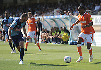 Blackpool's Nathan Delfouneso takes on Wycombe Wanderers' Michael Harriman<br /> <br /> Photographer Kevin Barnes/CameraSport<br /> <br /> The EFL Sky Bet League One - Wycombe Wanderers v Blackpool - Saturday 4th August 2018 - Adams Park - Wycombe<br /> <br /> World Copyright &copy; 2018 CameraSport. All rights reserved. 43 Linden Ave. Countesthorpe. Leicester. England. LE8 5PG - Tel: +44 (0) 116 277 4147 - admin@camerasport.com - www.camerasport.com