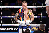 24th March 2018, O2 Arena, London, England; Matchroom Boxing, WBC Silver Heavyweight Title, Dillian Whyte versus Lucas Browne; Frank Buglioni Versus Callum Johnson British and Commonwealth Light Heavyweight championship; Callum Johnson celebrates after his first round stoppage win against Frank Buglioni