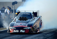 Oct. 5, 2012; Mohnton, PA, USA: NHRA funny car driver Blake Alexander during qualifying for the Auto Plus Nationals at Maple Grove Raceway. Mandatory Credit: Mark J. Rebilas-