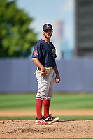 Lowell Spinners relief pitcher Tanner Raiburn (32) looks in for the sign during a game against the Staten Island Yankees on August 22, 2018 at Richmond County Bank Ballpark in Staten Island, New York.  Staten Island defeated Lowell 10-4.  (Mike Janes/Four Seam Images)