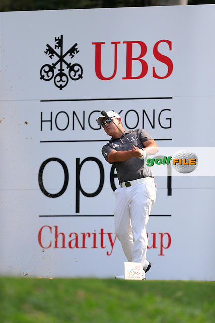 Angelo Que (PHI) on the 12th tee during Round 1 of the 2015 UBS Hong Kong Open at the Hong Kong Golf Club in The Netherlands on 2/10/15.<br /> Picture: Thos Caffrey | Golffile