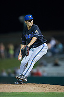 Missoula Osprey relief pitcher Jeff Bain (23) in action against the Billings Mustangs at Dehler Park on August 21, 2017 in Billings, Montana.  The Osprey defeated the Mustangs 10-4.  (Brian Westerholt/Four Seam Images)