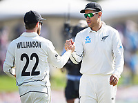 25th November 2019; Mt Maunganui, New Zealand;  Ross Taylor congratulates Kane Williamson on the win International test match day 5 of 1st test, New Zealand versus England;  at Bay Oval, Mt Maunganui, New Zealand.