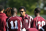 04 November 2007: Alabama A&M head coach Salah Yousif talks to his players. The Alabama A&M University Bulldogs defeated the Duke University Blue Devils 4-3 at Koskinen Stadium in Durham, North Carolina in an NCAA Division I Men's Soccer game.