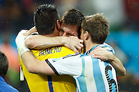 Lionel Messi of Argentina celebrates with Goalkeeper Sergio Romero and Lucas Biglia