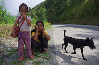 Child and Grandmother on the road Banaue Mountain Province Rice Terraces Philippines