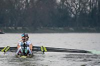 Greater London. United Kingdom, Cambridge women's Blue Boat  at the start of the Fulham Bend, Craven Cottage,  University Boat Races , Cambridge University vs Oxford University. Putney to Mortlake,  Championship Course, River Thames, London. <br /> <br /> Saturday  24.03.18<br /> <br /> [Mandatory Credit  Intersport Images]