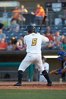 Ben Bengtson (5) of the West Virginia Power at bat against the Lexington Legends at Appalachian Power Park on June 7, 2018 in Charleston, West Virginia. The Power defeated the Legends 5-1. (Brian Westerholt/Four Seam Images)