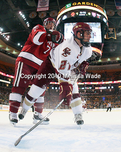 Chad Morin (Harvard - 7), Steven Whitney (BC - 21) - The Boston College Eagles defeated the Harvard University Crimson 6-0 on Monday, February 1, 2010, in the first round of the 2010 Beanpot at the TD Garden in Boston, Massachusetts.