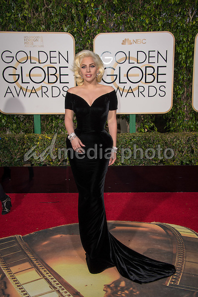 """Nominated for BEST PERFORMANCE BY AN ACTRESS IN A MINI-SERIES OR MOTION PICTURE MADE FOR TELEVISION for her role in """"American Horror Story: Hotel,"""" actress Lady Gaga attends the 73rd Annual Golden Globes Awards at the Beverly Hilton in Beverly Hills, CA on Sunday, January 10, 2016. Photo Credit: HFPA/AdMedia"""