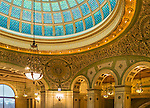 Chicago, Illinois<br /> Preston Bradley Hall in the Chicago Cultural Center (1897) featuring the world's largest Tiffany stained-glass dome