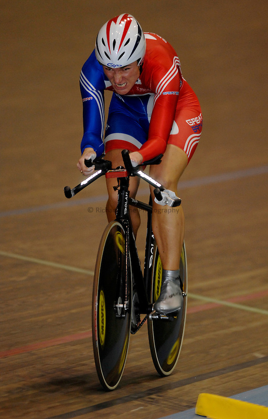 Photo: Richard Lane..VISA Paralympic World Cup 2007. Track Cycling. 11/05/2007. .Sarah Bailey of Great Britain in the 500m Time Trial, female.