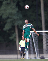 George Mason University forward Taylor Morgan (9) heads the ball. Boston College defeated George Mason University, 3-2, at Newton Soccer Field, August 26, 2011.