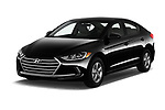 2018 Hyundai Elantra ECO 4 Door Sedan angular front stock photos of front three quarter view