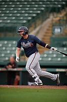GCL Braves Mason Berne (20) bats during a Gulf Coast League game against the GCL Orioles on August 5, 2019 at Ed Smith Stadium in Sarasota, Florida.  GCL Orioles defeated the GCL Braves 4-3 in the first game of a doubleheader.  (Mike Janes/Four Seam Images)
