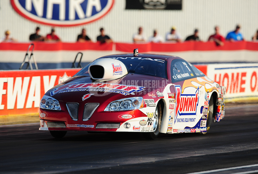 Sept. 2, 2011; Claremont, IN, USA: NHRA pro stock driver Greg Anderson during qualifying for the US Nationals at Lucas Oil Raceway. Mandatory Credit: Mark J. Rebilas-