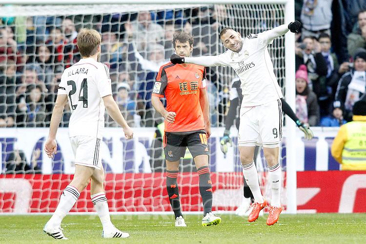 Real Madrid's Karim Benzema celebrates goal during La Liga match.January 31,2015. (ALTERPHOTOS/Acero)