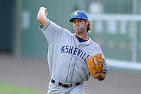 Starting pitcher Alex Balog (34) of the Asheville Tourists warms up before in a game against the Greenville Drive on Tuesday, July 1, 2014, at Fluor Field at the West End in Greenville, South Carolina. Asheville won, 5-2. (Tom Priddy/Four Seam Images)