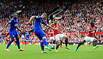 Robert Huth of Leicester City fires a shot at goal during the Premier League match at Old Trafford Stadium, Manchester. Picture date: September 24th, 2016. Pic Sportimagee
