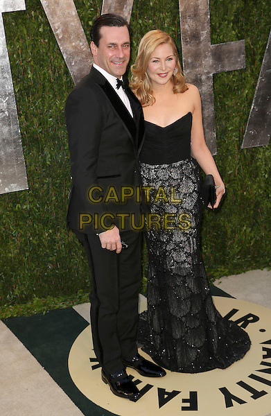Jon Hamm, Jennifer Westfeldt.2013 Vanity Fair Oscar Party following the 85th Academy Awards held at the Sunset Tower Hotel, West Hollywood, California, USA..February 24th, 2013.oscars full length black tuxedo white shirt bow tie strapless dress skirt sparkly detail pattern couple .CAP/ADM/SLP/DOW.©Dowling/StarlitePics/AdMedia/Capital Pictures