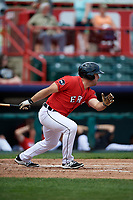 Erie SeaWolves designated hitter Zack Cox (14) follows through on a swing during a game against the Reading Fightin Phils on May 18, 2017 at UPMC Park in Erie, Pennsylvania.  Reading defeated Erie 8-3.  (Mike Janes/Four Seam Images)