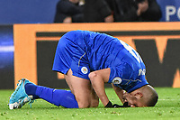 Islam Slimani of Leicester City celebrates 1st goal during the Premier League match between Leicester City v Sunderland played at King Power Stadium, Leicester on 4th April 2017.<br /> <br /> available via IPS Photo Agency/Rex Features  only