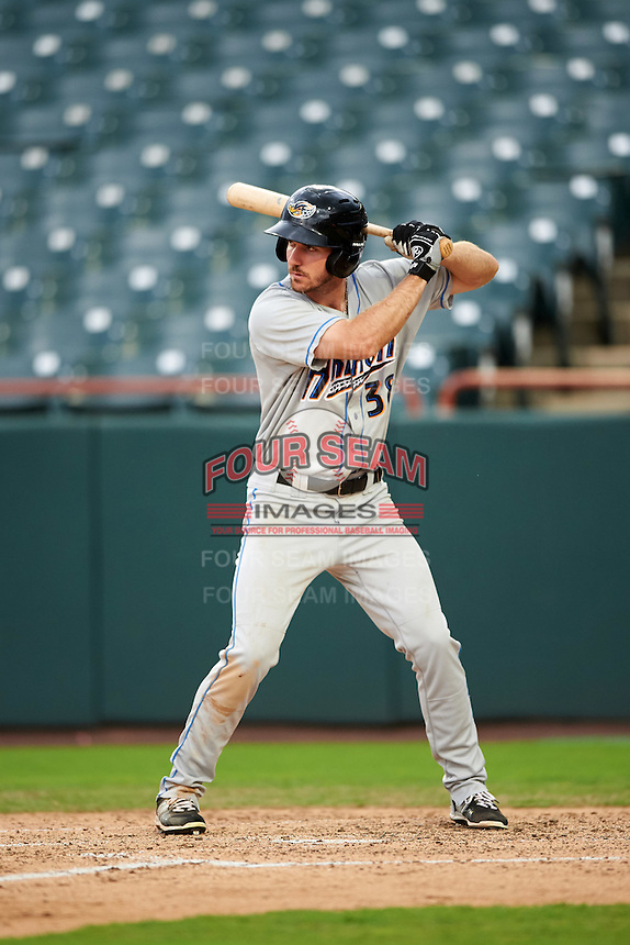 Akron RubberDucks right fielder Mike Papi (38) at bat during the second game of a doubleheader against the Bowie Baysox on June 5, 2016 at Prince George's Stadium in Bowie, Maryland.  Bowie defeated Akron 12-7.  (Mike Janes/Four Seam Images)
