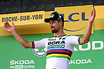 World Champion Peter Sagan (SVK) Bora-Hansgrohe wins Stage 2 of the 2018 Tour de France running 182.5km from Mouilleron-Saint-Germain to La Roche-sur-Yon, France. 8th July 2018. <br /> Picture: ASO/O.Chabe | Cyclefile<br /> All photos usage must carry mandatory copyright credit (&copy; Cyclefile | ASO/O.Chabe)