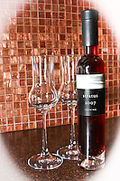 Red ice wine with two glasses