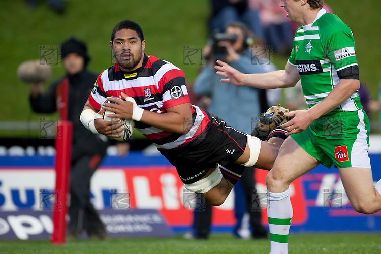 Fritz Lee dives over to score. ITM Cup rugby game between Counties Manukau and Manawatu played at Bayer Growers Stadium on Saturday August 21st 2010..Counties Manukau won 35 - 14 after leading 14 - 7 at halftime.