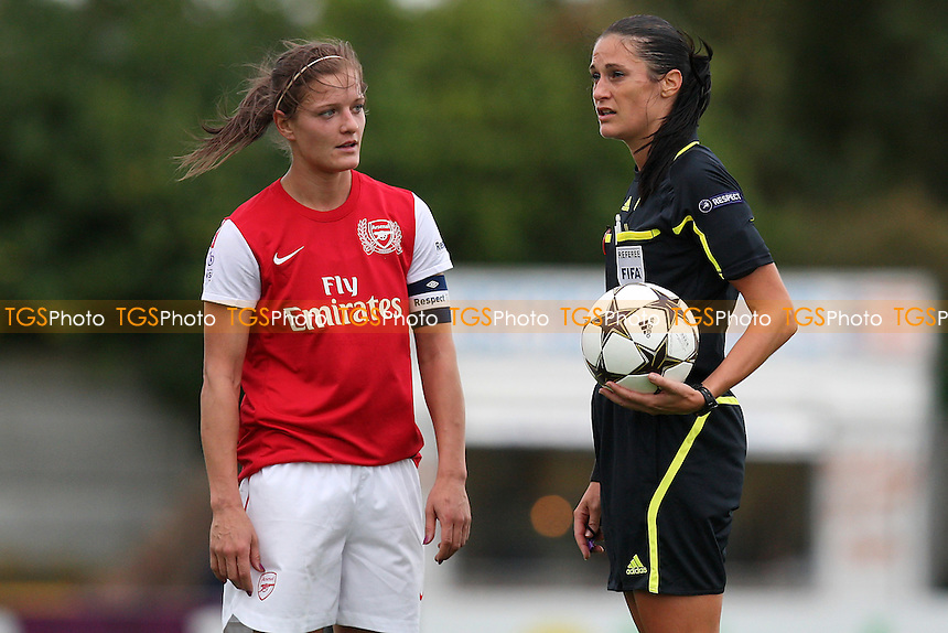 Katie Chapman of Arsenal speaks to referee Severine Zinck - Arsenal Ladies vs FC Bobruichanka - UEFA Women's Champions League Round of 32 Second Leg at Boreham Wood FC - 05/10/11 - MANDATORY CREDIT: Gavin Ellis/TGSPHOTO - Self billing applies where appropriate - 0845 094 6026 - contact@tgsphoto.co.uk - NO UNPAID USE.