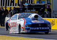 Mar. 15, 2013; Gainesville, FL, USA; NHRA pro stock driver Larry Morgan during qualifying for the Gatornationals at Auto-Plus Raceway at Gainesville. Mandatory Credit: Mark J. Rebilas-