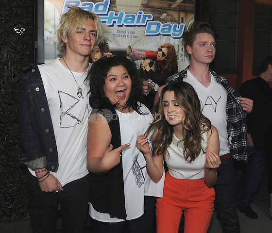 "BURBANK, CA - FEBRUARY 10:  Ross Lynch, Raini Rodriguez, Calum Worthy and Laura Marano at the screening of the Disney Channel original movie ""Bad Hair Day"" at The Walt Disney Studios - Frank G. Wells Theater on February 10, 2015 in Burbank, California. Credit: PGSK/MediaPunch"