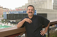 Iranian Film Maker Majid Majidi pose for an exclusive photo in front of Maisonneuve Theater where  competition movies of the   25th Montreal World Film Festival are beeing screened., Sept 1, 2001<br /> <br /> Majidi was awarded his 3rd Grand Prize of The Americas , at the closing ceremonies Sept 3rd 2001<br /> for his movie BARAN.<br /> <br /> Photo by Pierre Roussel /Getty News Images Service (ON SPEC)<br /> NOTE : raw jpeg from Nikon D 1, openened with QUIMAGE ICC profile