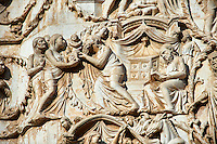 Bas-relief sculpture panel scene of Christ being presented at the Temple by Maitani around 1310 on the14th century Tuscan Gothic style facade of the Cathedral of Orvieto, Umbria, Italy