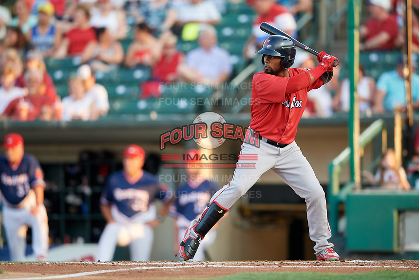 Pawtucket Red Sox left fielder Aneury Tavarez (20) at bat during a game against the Rochester Red Wings on July 4, 2018 at Frontier Field in Rochester, New York.  Pawtucket defeated Rochester 6-5.  (Mike Janes/Four Seam Images)
