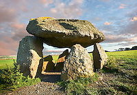 Carreg Samson or Samson's Stone, a 5000 year old Neolithic dolmen burial chamber, near Abercastle, Pembroke, Wales