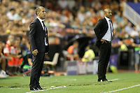Valencia's coach Nuno Espirito Santo (r) and AS Monaco FC's coach Leoanrdo Jardim during Champions League 2015/2016 Play-Offs 1st leg match. August  19,2015. (ALTERPHOTOS/Acero)
