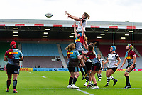 Forwards compete at a lineout. Tyrrell's Premier 15s match, between Harlequins Ladies and Bristol Bears Women on September 15, 2018 at the Twickenham Stoop in London, England. Photo by: Patrick Khachfe / Onside Images