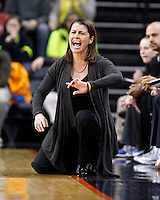 Duke head coach Joanne P. McCallie calls a play during an NCAA college basketball game in Charlottesville, Va. Duke defeated Virginia 62-41...