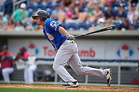 Biloxi Shuckers outfielder Tyrone Taylor (15) at bat during the first game of a double header against the Pensacola Blue Wahoos on April 26, 2015 at Pensacola Bayfront Stadium in Pensacola, Florida.  Biloxi defeated Pensacola 2-1.  (Mike Janes/Four Seam Images)