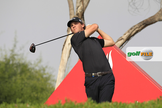 Thomas Pieters (BEL) tees off the 11th tee during Sunday's Final Round of the Abu Dhabi HSBC Golf Championship 2015 held at the Abu Dhabi Golf Course, United Arab Emirates. 18th January 2015.<br /> Picture: Eoin Clarke www.golffile.ie