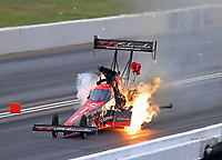 May 18, 2018; Topeka, KS, USA; NHRA top fuel driver Leah Pritchett explodes the engine of her dragster in flames during qualifying for the Heartland Nationals at Heartland Motorsports Park. Mandatory Credit: Mark J. Rebilas-USA TODAY Sports